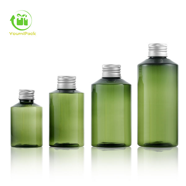 Green plastic bottle with lid