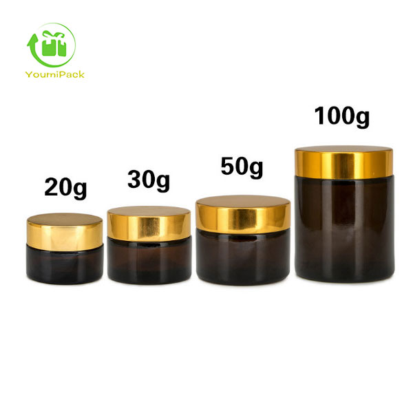 Dark brown glass jar with gold lid