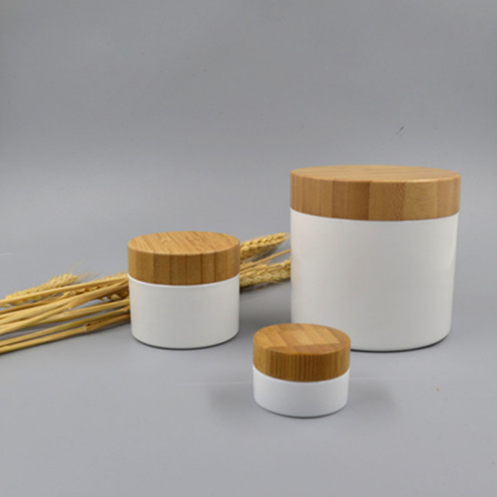 PLA biodegradable white jar with bamboo lid