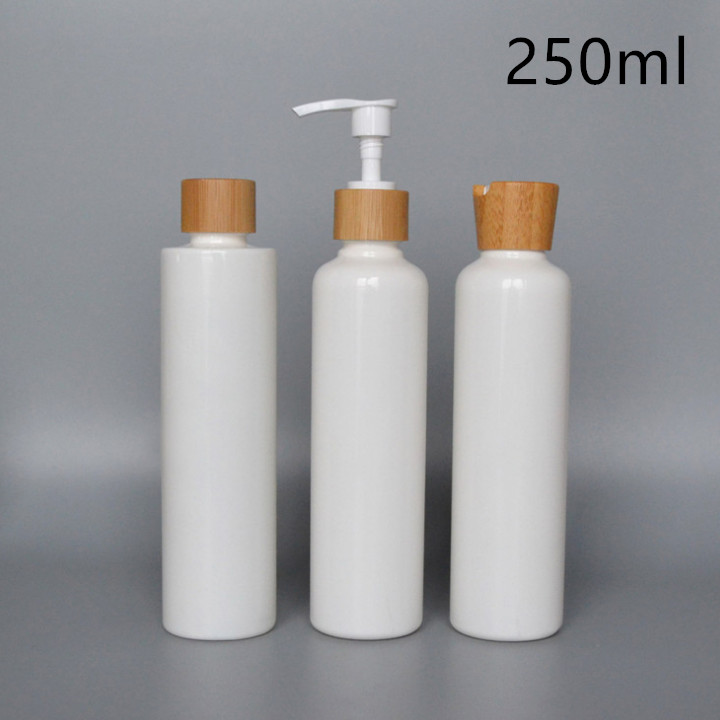 250 ml PLA biodegradable bottle with bamboo cap and pumps