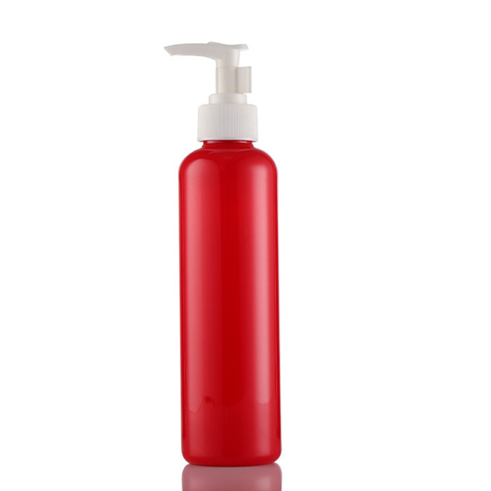250ml red PCR round recycled bottles with sprayers